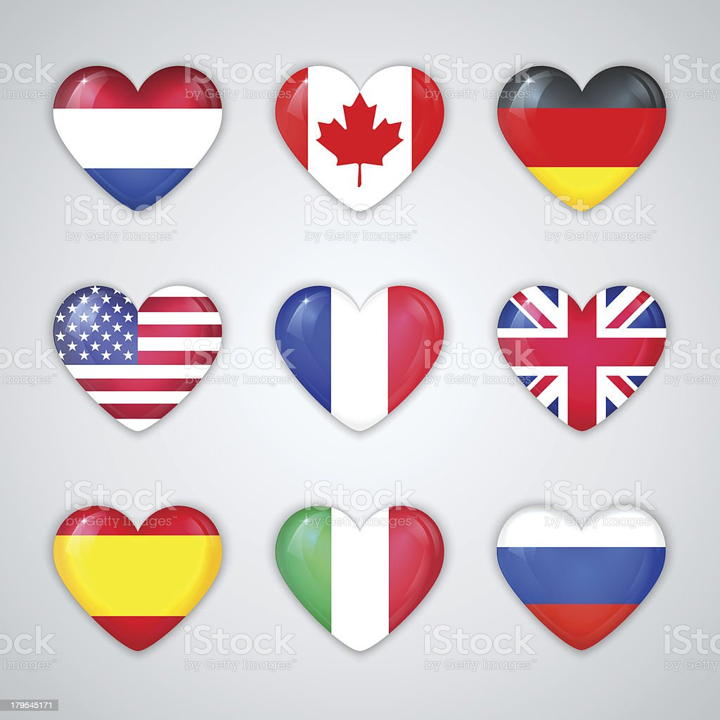 Glass Heart Flags of Countries Icon Set. royalty-free stock vector art