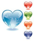 Glass Hearts with World Map of Africa, Europe and Asia in blue, red, green, orange and purple colors. Download Includes: High Resolution JPG, Illustrator 0.8 EPS, CS2 AI & EPS. Please check out more of my stock illustrations and photos at: http://www.istockphoto.com/portfolio/phi2