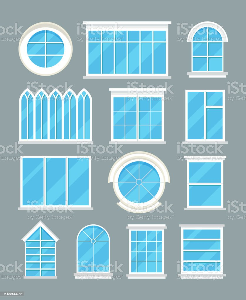 Glass home windows types vector flat icons vector art illustration