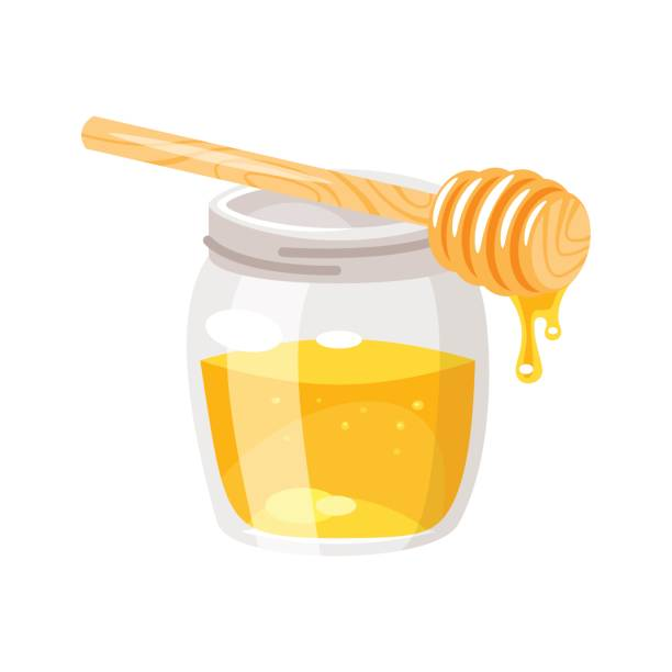illustrazioni stock, clip art, cartoni animati e icone di tendenza di glass honey jar. - miele dolci
