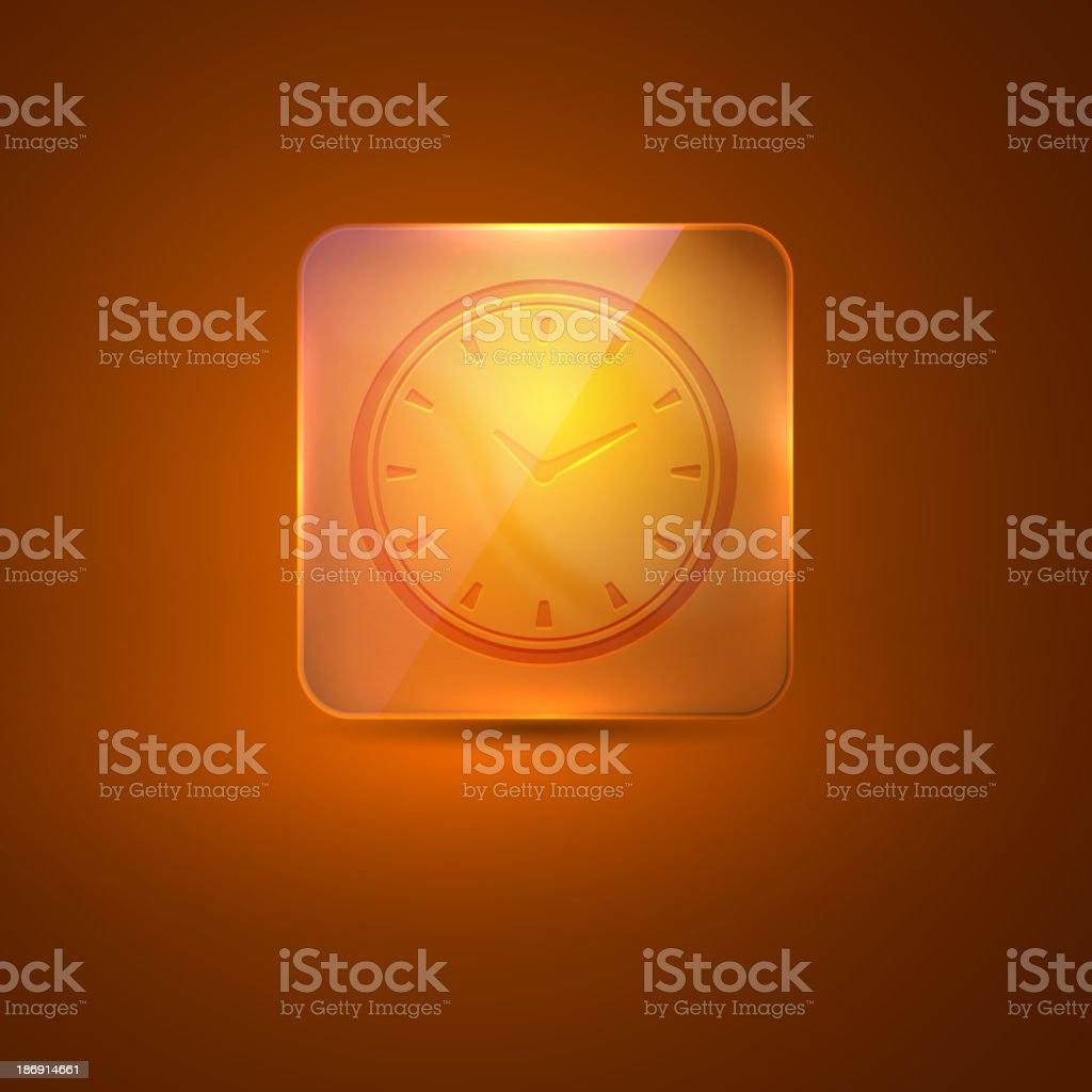 glass icon with clock sign royalty-free stock vector art