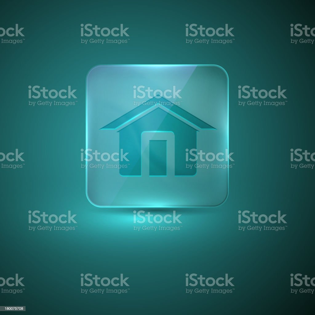 glass icon with home sign royalty-free stock vector art