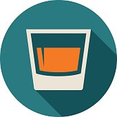 Glass icon with long shadow. Flat design style. Round icon. Glass silhouette. Simple circle icon. Modern flat icon in stylish colors. Web site page and mobile app design vector element.
