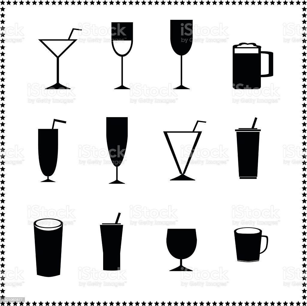 Vetro icone, drink e bevande le indicazioni - illustrazione arte vettoriale