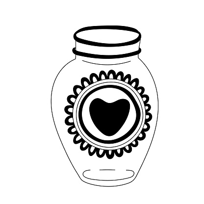 Glass jar decorated with heart doodle.