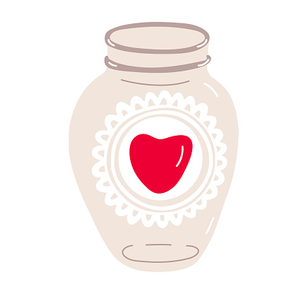 Glass jar decorated with heart vector illustration.
