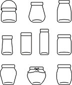 glass jar line icons set, vector illustration