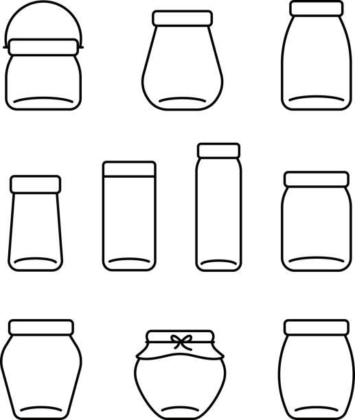 ilustrações de stock, clip art, desenhos animados e ícones de glass jar line icons set, vector illustration - jam jar