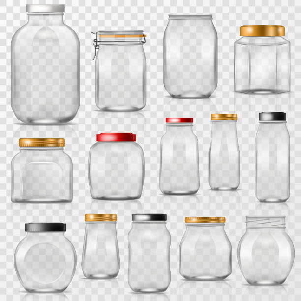 Glass jar vector empty mason glassware with lid or cover for canning and preserving illustration glassful set of container or cuppingglass isolated on transparent background Glass jar vector empty mason glassware with lid or cover for canning and preserving illustration glassful set of container or cuppingglass isolated on transparent background. container stock illustrations