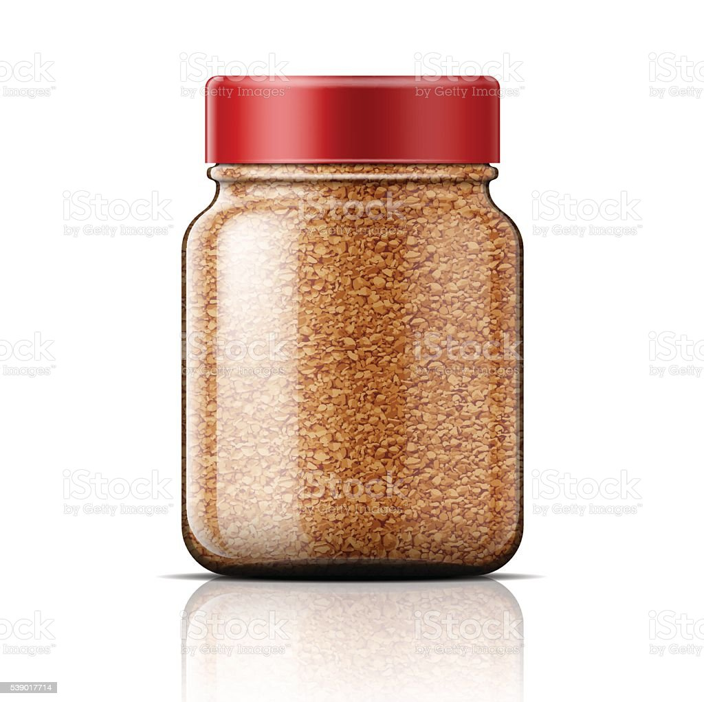 Glass jar with instant coffee. vector art illustration