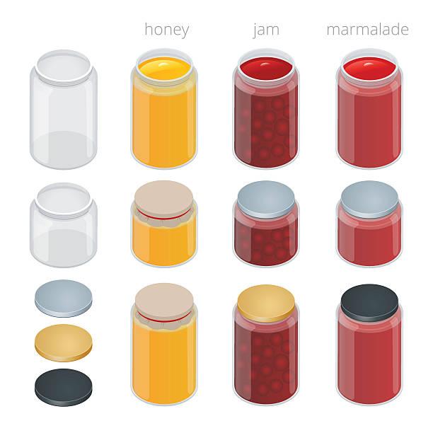 ilustrações de stock, clip art, desenhos animados e ícones de jarra de vidro com compota, configurar e mel. ilustração plana minibarra de ferramentas. - jam jar