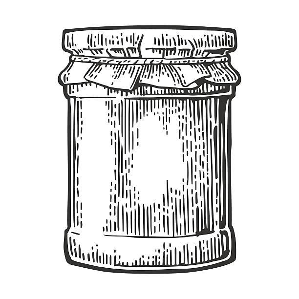 ilustrações de stock, clip art, desenhos animados e ícones de glass jar with jam. vector vintage engraved illustration. - jam jar