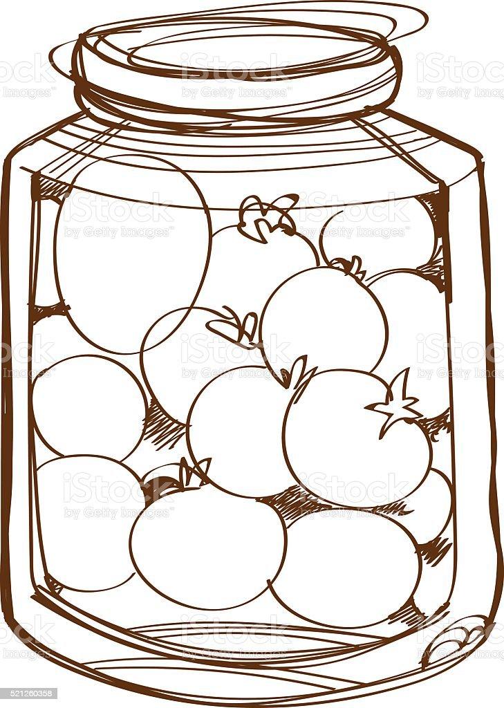Ilustración De Frasco De Vidrio Con Tomate Arrollado De
