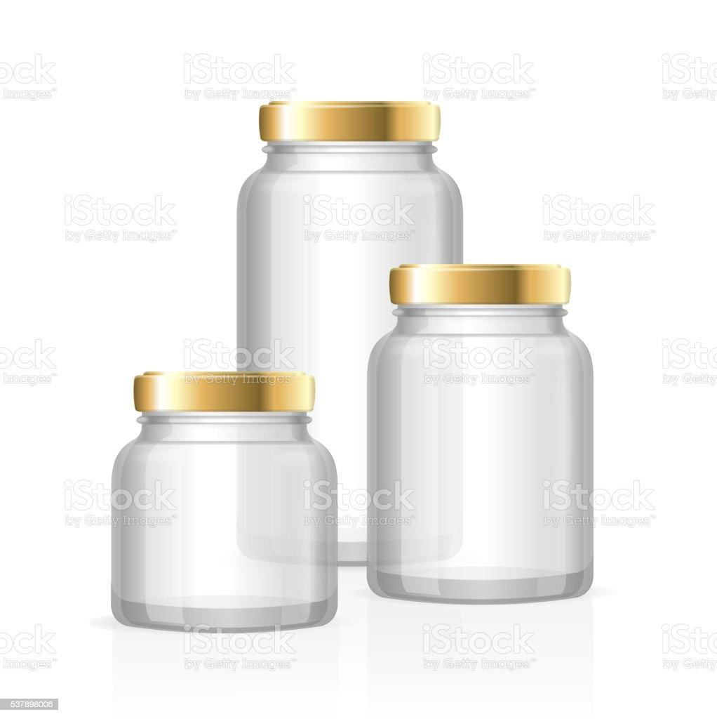 Glass Jars Bottles Empty Transparent. Vector vector art illustration