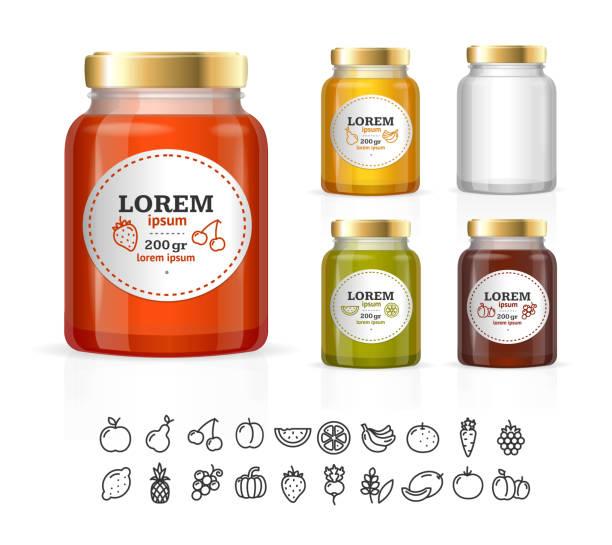 ilustrações de stock, clip art, desenhos animados e ícones de boião de vidro nos frascos com compota, confiture, mel. ferramenta - jam jar