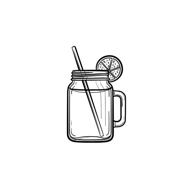 bildbanksillustrationer, clip art samt tecknat material och ikoner med glasburkar för cocktail hand ritad skiss ikon - smoothie