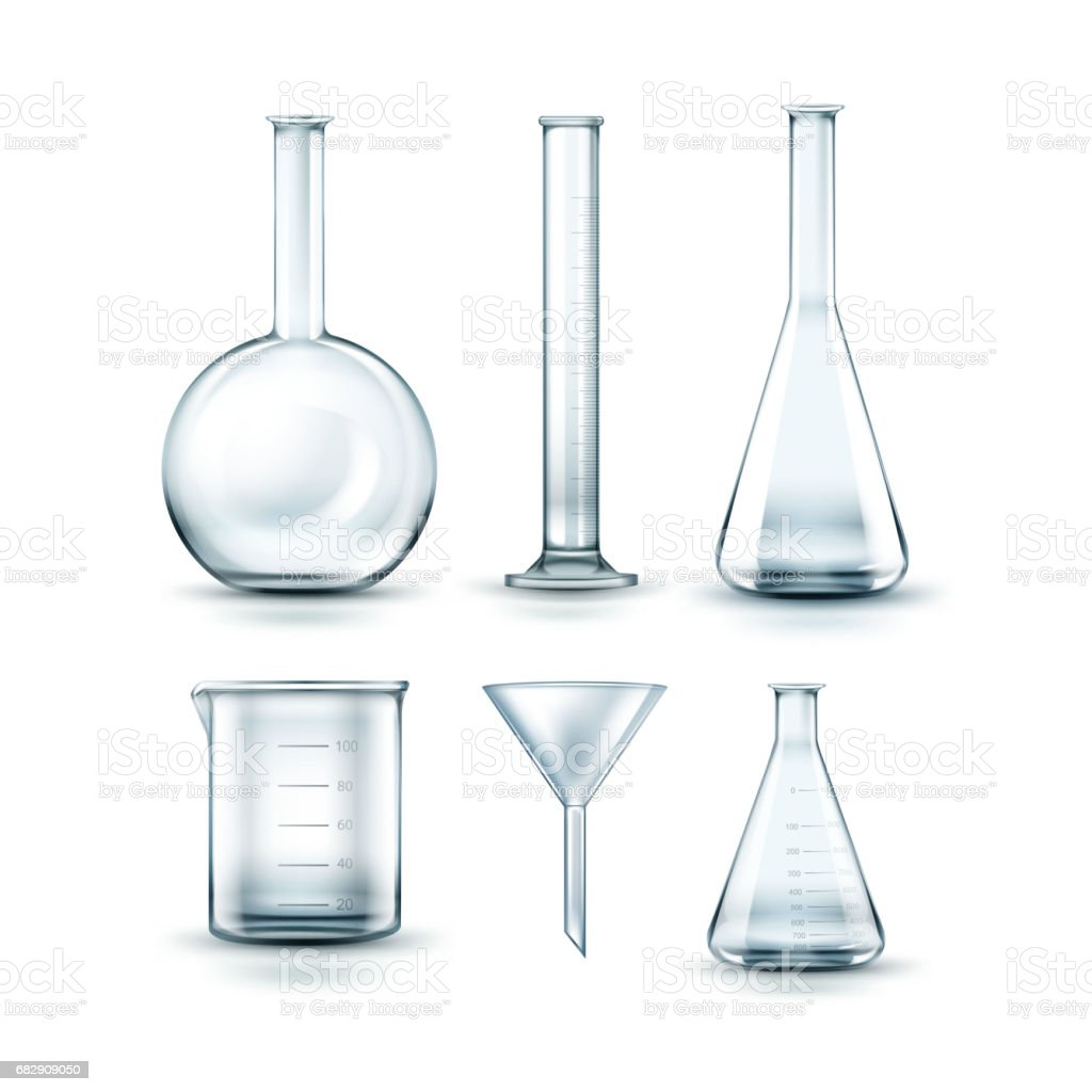 Glass laboratory flasks vector art illustration