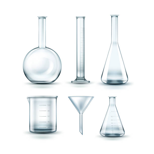 Glass laboratory flasks Vector set of empty transparent glass chemical laboratory flasks, funnel and test tube isolated on background laboratory flask stock illustrations