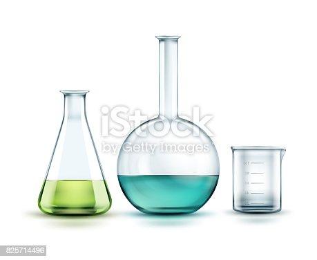 istock Glass laboratory flasks 825714496