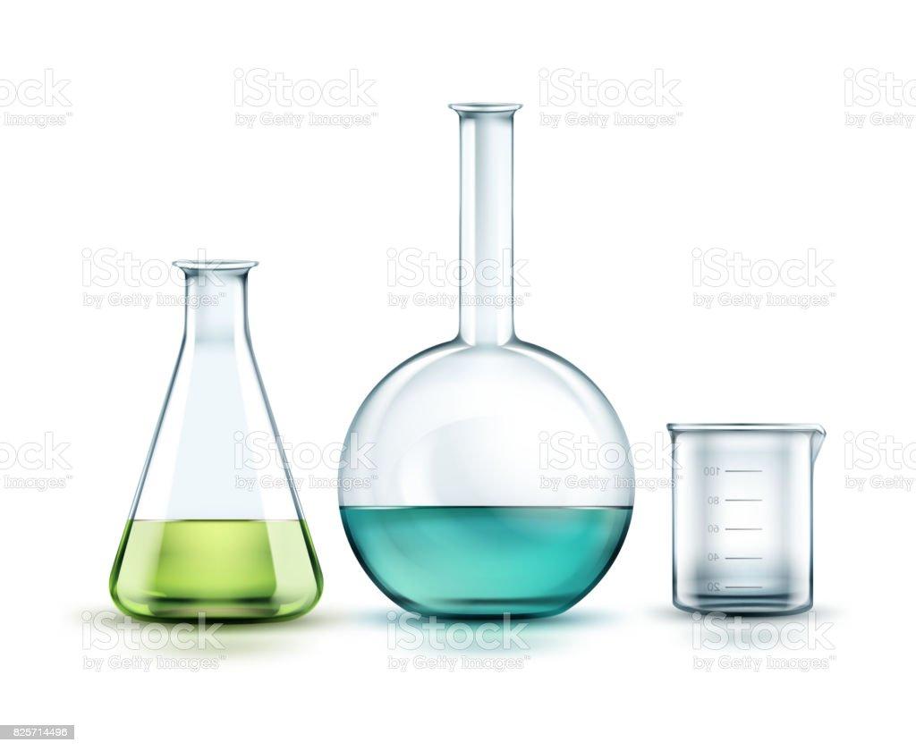 Glass laboratory flasks vector art illustration