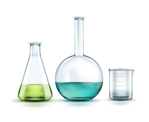 Glass laboratory flasks Vector transparent glass chemical flasks full off green, blue liquid and empty beaker isolated on background laboratory flask stock illustrations