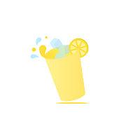 Glass lemonade with ice cubes, lemon slice and drops levitation logo