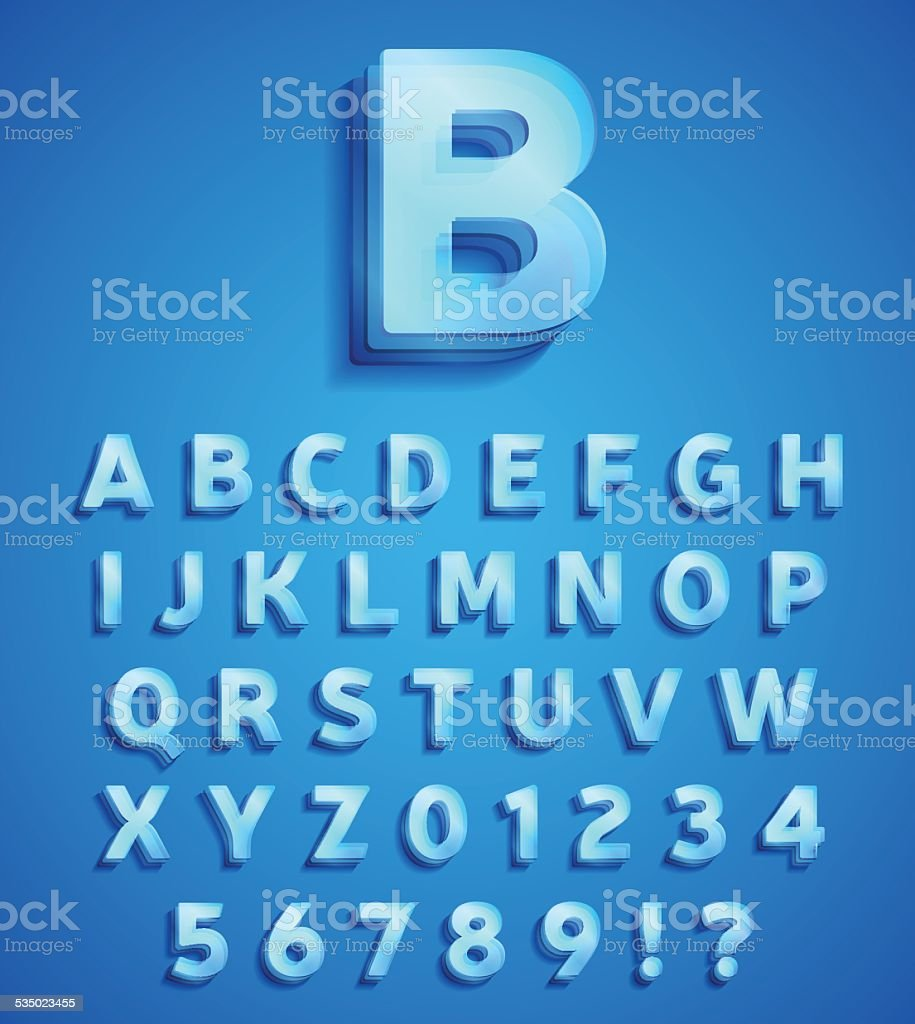 Glass letters pack vector art illustration