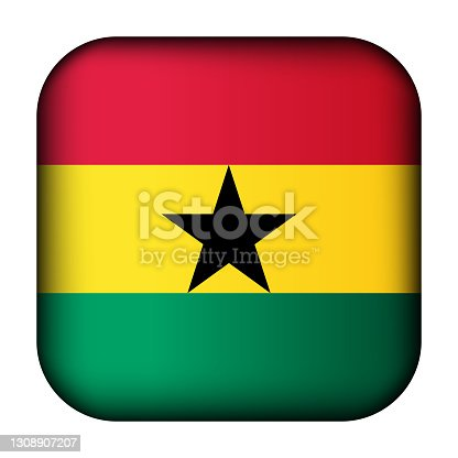 istock Glass light ball with flag of Ghana. Squared template icon. Ghanaian national symbol. Glossy realistic cube, 3D abstract vector illustration highlighted. Big quadrate, foursquare 1308907207