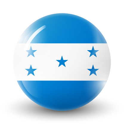 Glass light ball with flag of Honduras. Round sphere, template icon.  national symbol. Glossy realistic ball, 3D abstract vector illustration highlighted on a white background. Big bubble.