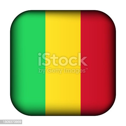 istock Glass light ball with flag of Mali. Squared template icon. National symbol. Glossy realistic cube, 3D abstract vector illustration highlighted. Big quadrate, foursquare 1309370959