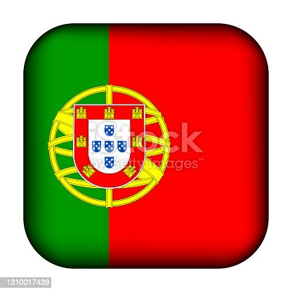 istock Glass light ball with flag of Portugal. Squared template icon. Portuguese national symbol. Glossy realistic cube, 3D abstract vector illustration highlighted. Big quadrate, foursquare 1310017439