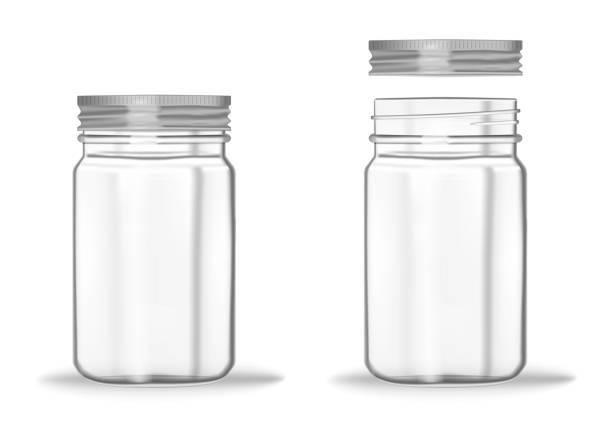 ilustrações de stock, clip art, desenhos animados e ícones de glass mason jar with screw metal lid, vector mockup. clear empty food container - closed and opened, realistic illustration - jam jar