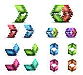 Glass metallic arrow web banner design set. Vector geometric templates