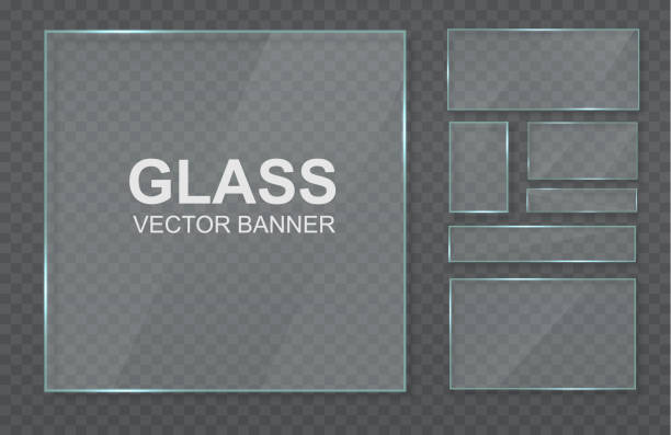 Glass, mirrors, windows. Glass plates with place for inscriptions. The texture of glass, mirrors, windows. Glitter rectangle reflection of 3d texture panel or window on transparent  display frame.  Vector illustration, EPS 10 glossa stock illustrations
