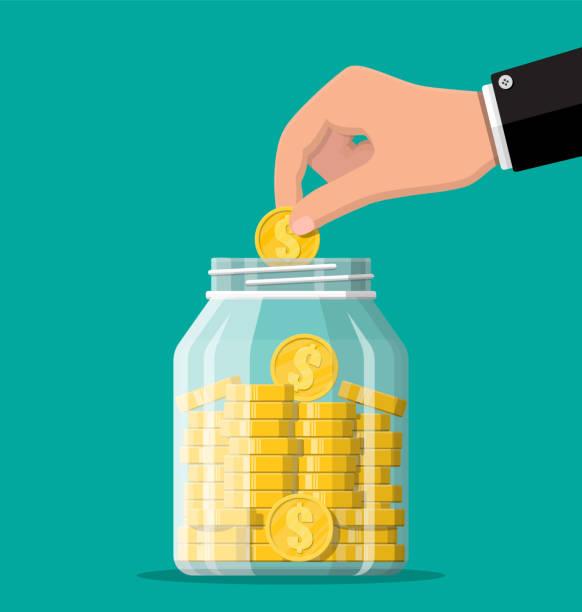 Glas Geld Glas voller Goldmünzen und Hand. – Vektorgrafik