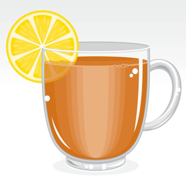 Glass mug of tea with lemon vector art illustration