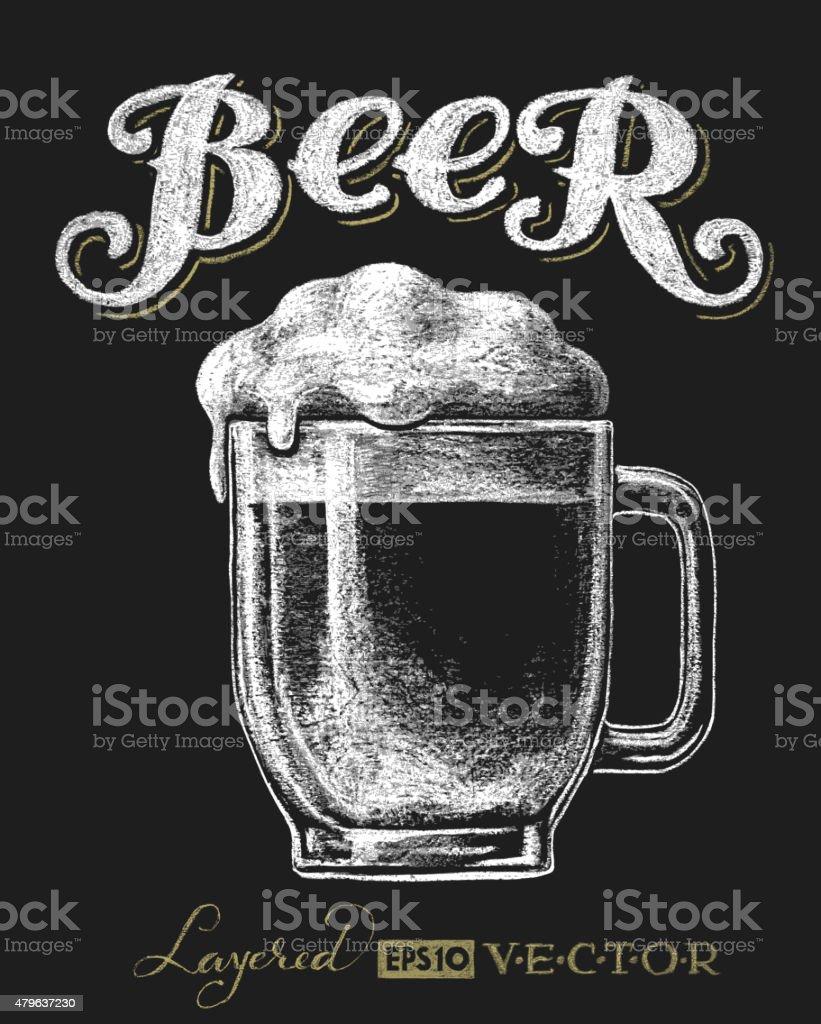 Glass mug with beer vector art illustration