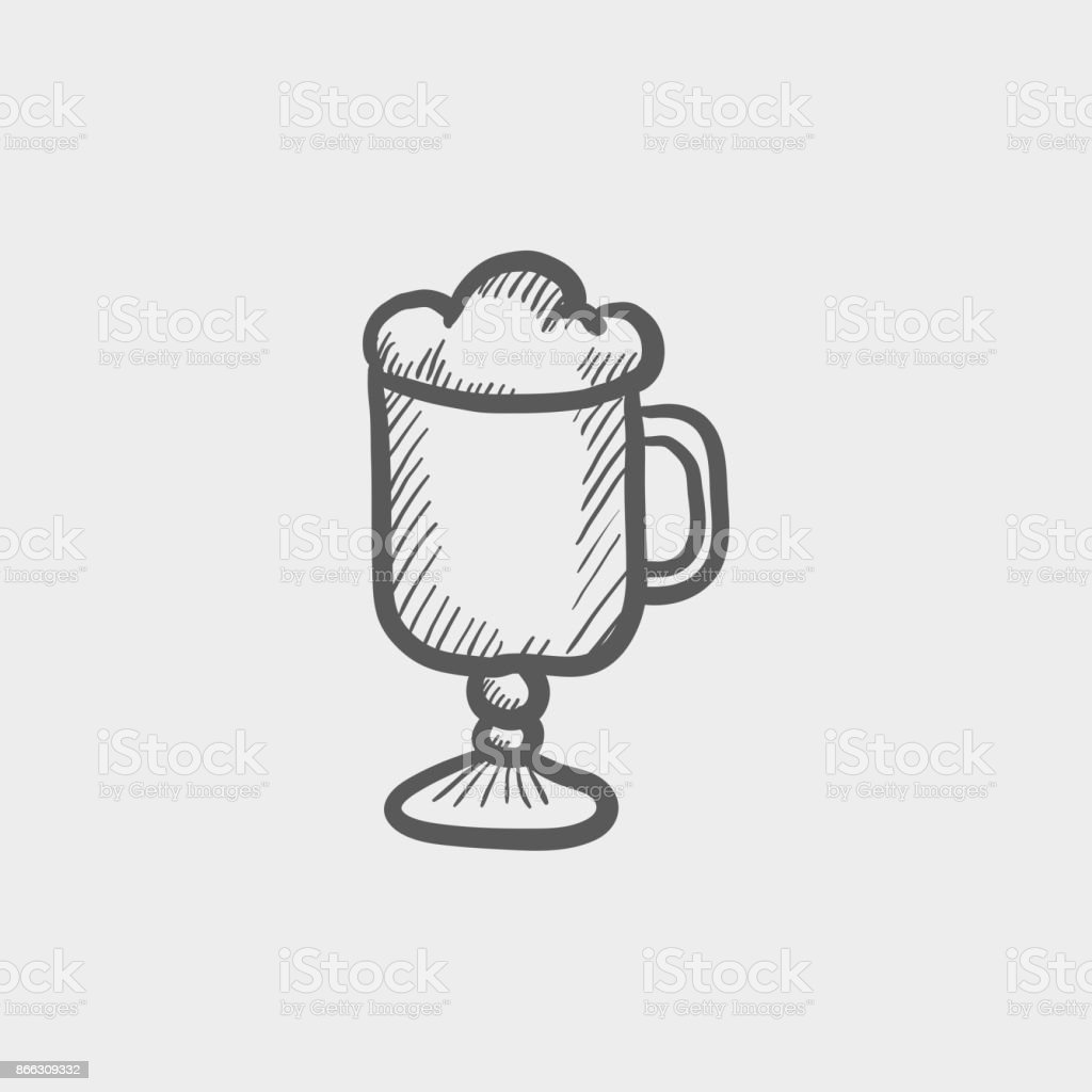 Glass mug with foam sketch hand drawn doodle icon vector art illustration