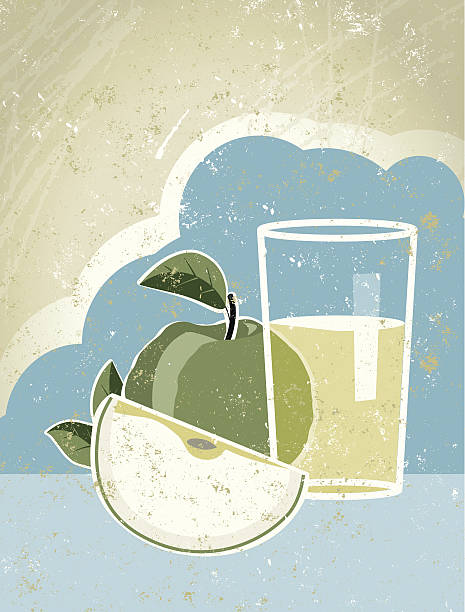 Glas Apfelsaft mit Obst und Sky – Vektorgrafik