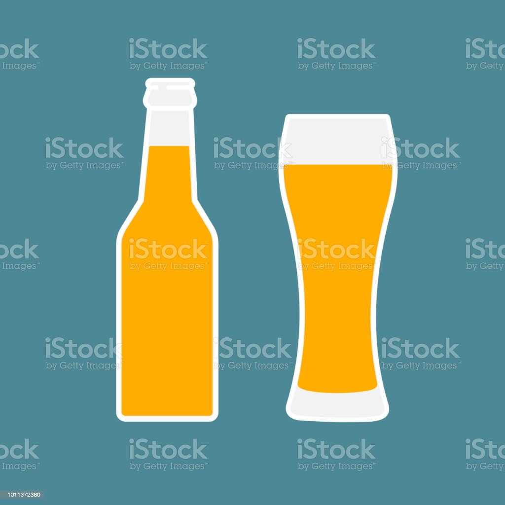 Glass of beer and bottle flat icon. vector art illustration
