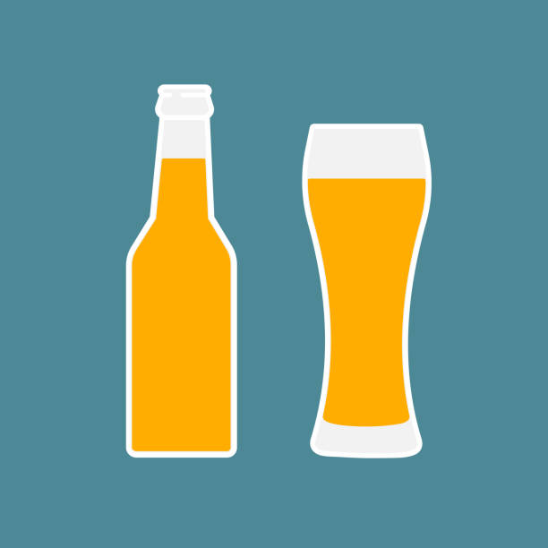 stockillustraties, clipart, cartoons en iconen met glas bier en de fles platte pictogram. - bierfles