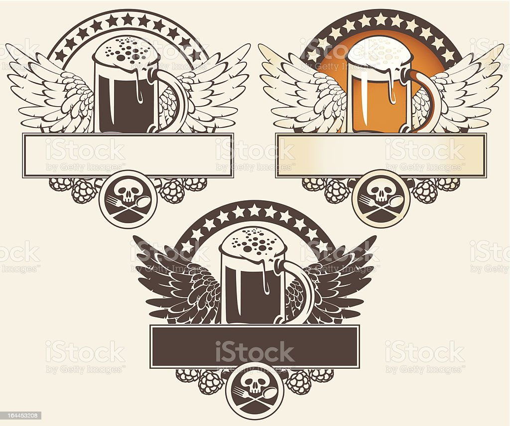glass of beer and wings royalty-free stock vector art