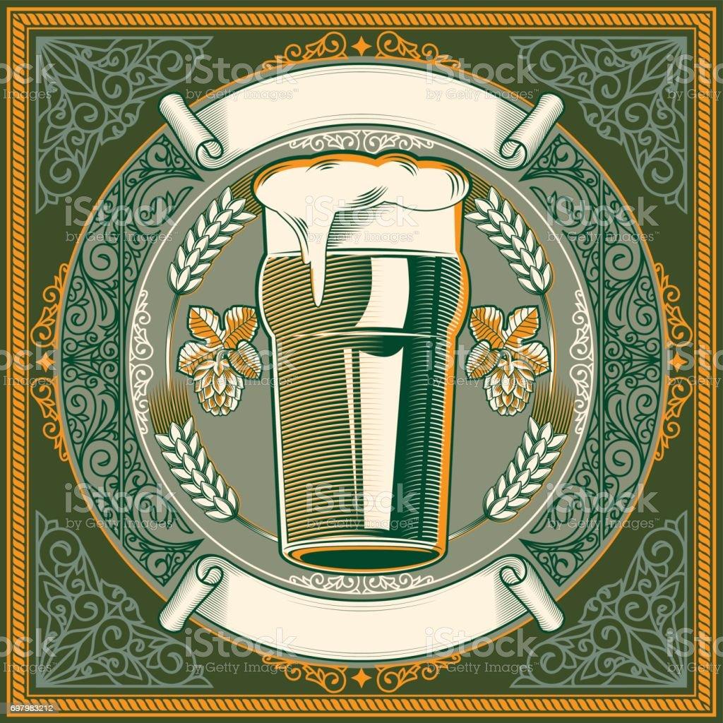 Vidro do emblema decorativo de cerveja - ilustração de arte em vetor