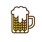 Beer mug and wheat. Vector EPS 10, HD JPEG 4000 x 4000 px