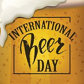 A glass of beer.  International beer Day lettering.  Vector illustration EPS10.