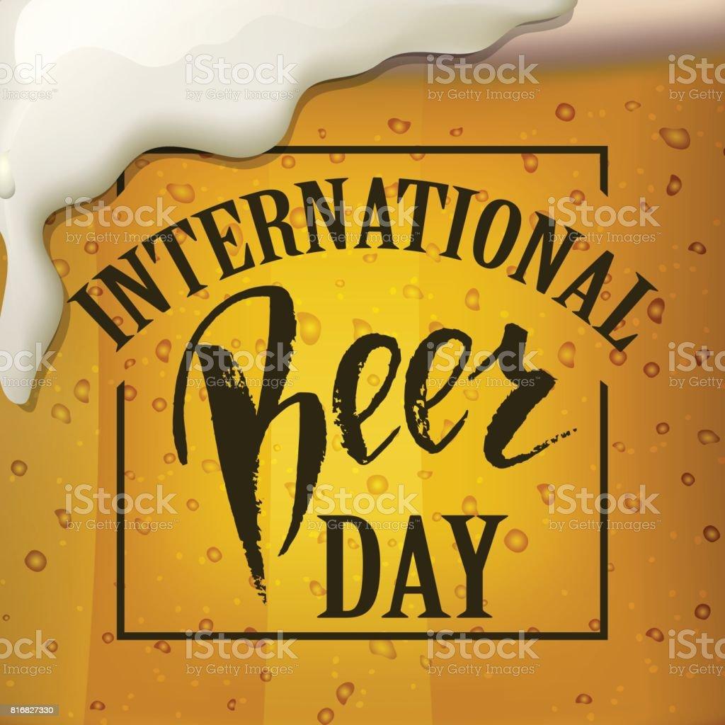 A glass of beer.  International beer Day lettering.  Vector illustration EPS10. vector art illustration