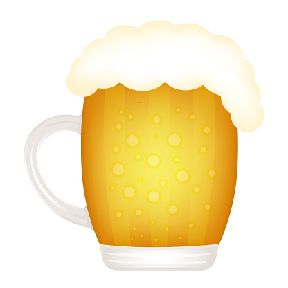 Glass of beer isolated on white background. Vector icon.
