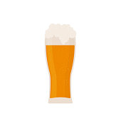 Glass of beer isolated on white. Traditional Bavarian beer festival Oktoberfest. Flat vector icon. Easy to edit template for logo design, poster, banner, flyer, t-shirt, invitation, sticker, etc.