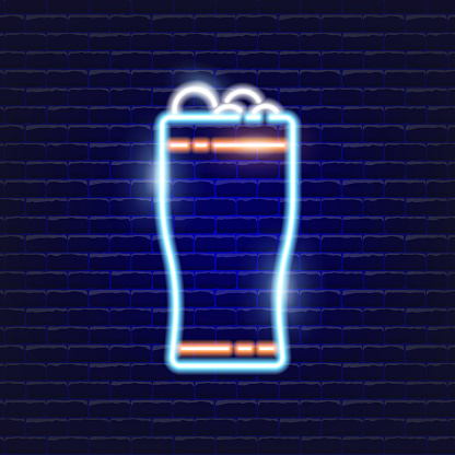 Glass of beer neon icon. Glowing Vector illustration icon for mobile, web, and menu design. Drink concept.