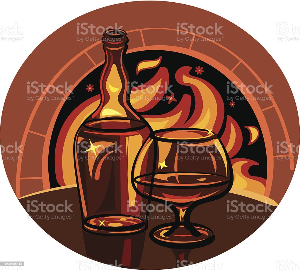 Glass of brandy and bottle royalty-free stock vector art